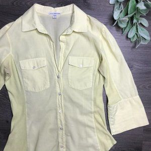 JAMES PERSE | sz 2 yellow contrast rib button down